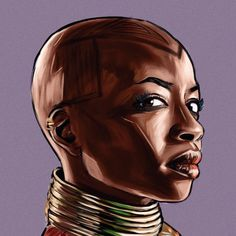 """119 Likes, 1 Comments - Sam Gilbey (@samgilbey) on Instagram: """"#workinprogress portrait of @danaigurira as Okoye in #blackpanther. Having so much fun painting…"""""""