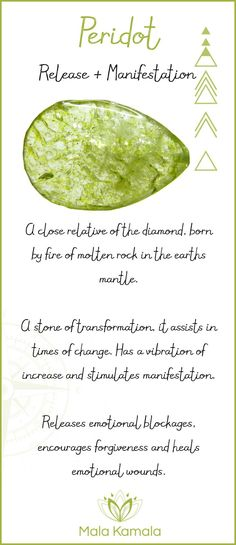 What is the meaning and crystal and chakra healing properties of peridot? A stone for release, letting go and manifestation.