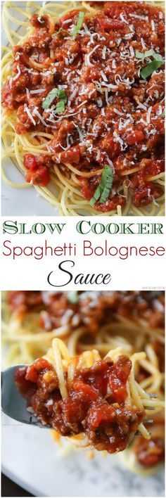 Slow Cooker Spaghetti Bolognese Sauce Spaghetti Bolognese - Imagine your favorite spaghetti bolognese sauce, simmered and seasoned to perfection, rich and flavorful. Now imagine it's cooked in the slow cooker! Crock Pot Slow Cooker, Crock Pot Cooking, Slow Cooker Recipes, Paleo Recipes, Crockpot Recipes, Cooking Recipes, Easy Recipes, Cooking Food, Amazing Recipes