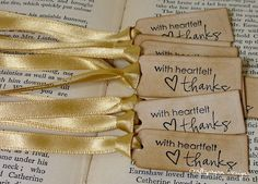 Luxury Tiny Thank You Tags Set of 150-Ribbon Choices Available-Perfect for tying to Favors by craftypagan on Etsy https://www.etsy.com/listing/202156196/luxury-tiny-thank-you-tags-set-of-150