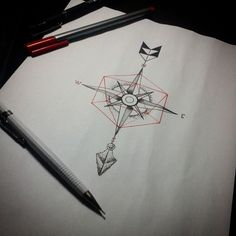 Geometric compass Arrow Tattoos  | Alam Vinicius — #tattoo #compass #geometry #campassgeometrytattoo...