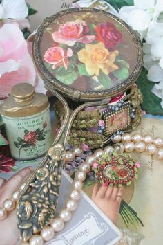 Vintage Mirror, jewelry and tin
