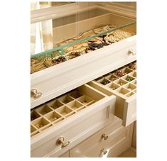 DIY jewlery dresser: remove top and replace with glass. add organizers in drawers to customize compartments for your accessories.