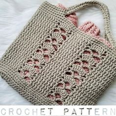 The Deco Tote PATTERN crochet pattern tote bag beach bag image 4 Bag Crochet, Crochet Shell Stitch, Crochet Diy, Crochet Handbags, Crochet Purses, Crochet Gifts, Crochet Stitches, Knitting Projects, Knitting Patterns