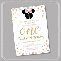 Pink and Gold Minnie Mouse Birthday Party Invitation, Editable First, Birthday, Gold Glitter, Polka Dot invite Girl Printable Invitation Minnie Mouse Birthday Invitations, Minnie Mouse First Birthday, Minnie Mouse Theme, Girl First Birthday, First Birthday Parties, First Birthdays, Mickey Birthday, Birthday Ideas, Happy Birthday