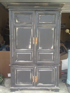 Large distressed black storage armoire by ShekinahRestorations, $650.00