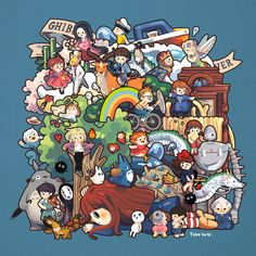 Ghibli Forever ^^ #FanArtGhibli Studio Ghibli Art, Studio Ghibli Movies, Hayao Miyazaki, Japanese Animated Movies, Fanart, Howls Moving Castle, My Neighbor Totoro, Manga, Cute Characters