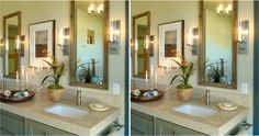 The magic lies in the details. #SPOTTHEDIFFERNCE between the 2 images of a luxurious bathroom.