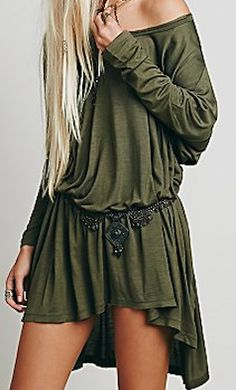 Off the shoulder dark green dress