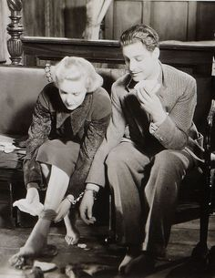 """Madeleine Carroll and Robert Donat in Alfred Hitchcock's """"The 39 Steps"""" (1935)"""