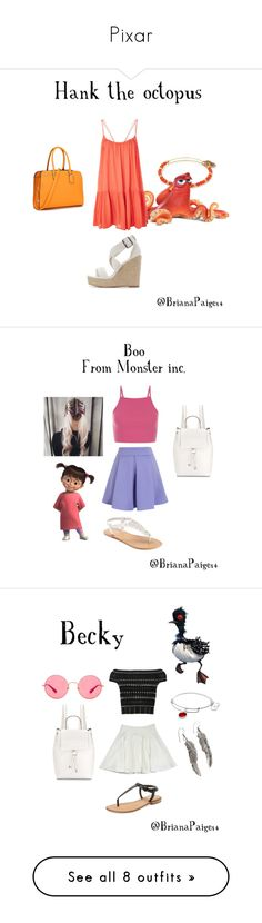 """Pixar"" by brianapaige14 ❤ liked on Polyvore featuring Alex and Ani, Disney Pixar Finding Dory, Topshop, Charlotte Russe, Chicwish, Disney, SONOMA Goods for Life, French Connection, Alexander McQueen and Milly"