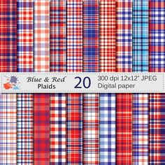 Blue and Red Plaids Digital Paper Set, Blue and Red Plaid Digital Papers…