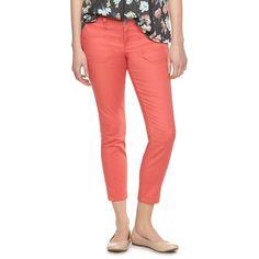 Women's LC Lauren Conrad Skinny Cargo Pants ($25) ❤ liked on Polyvore featuring pants, lt orange, zipper cargo pants, cargo pants, short pants, slim fit cargo pants and orange pants