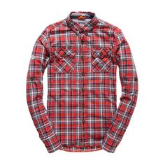 Superdry Grindlesawn Shirt ($66) ❤ liked on Polyvore featuring men's fashion, men's clothing, men's shirts, men's casual shirts and red