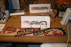 Weaving Loom Board with Wolf Clan Crest design, for Jacqueline Jainga-Hyllseth, by T'aam Laan (Jeffrey Noel Jainga)