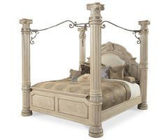 AI-N53000K-03 AICO Monte Carlo II Silver Pearl King Canopy Bed $3077.00