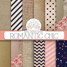 "Romantic digital paper: ""ROMANTIC CHIC"" with romantic backgrounds, shabby chic pattern, burlap for party invitations, cards, scrapbooking #paper #wood"