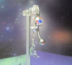 Dangling Moon and Stars Belly Button Ring by joolrylane on Etsy