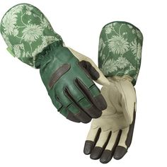 Laura Ashley Gauntlet Gloves give added protection when gardening. Goatskin leather hands with longer length strong cotton cuffs in the green Kimono print. Green Kimono, Garden Gadgets, Gauntlet Gloves, Gardening Gloves, Laura Ashley, Leather Gloves, Orchard Supply, Medium, Hardware