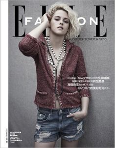 Kristen Stewart wears Chanel sweater and pearl necklace for ELLE China Magazine September 2016 issue