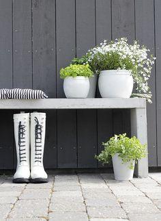 Growing A Green Sustainable Garden on Your Deck or Patio Love Garden, Dream Garden, Terrace Garden, Garden Pots, White Gardens, Back Gardens, Outdoor Areas, Flower Boxes, Land Scape