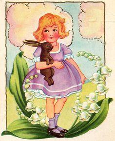 girl with bunny card