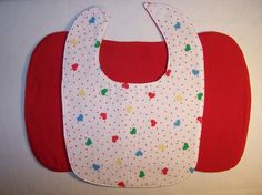 Bib and burp cloth set  multicolor hearts by EverSewSweet on Etsy, $9.00