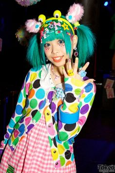 Colorful fashion snaps of guests and participants at the Harajuku-themed Pop N Cute party in the Spring of Harajuku Mode, Harajuku Girls, Harajuku Fashion, Kawaii Fashion, Lolita Fashion, Cute Fashion, Fashion Walk, Fashion Styles, Fashion Fashion