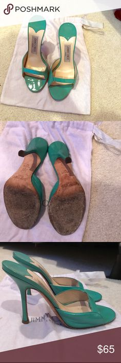 Jimmy Chip teal mule slides with 4.5 inch heel Preloved authentic Jimmy Choo patent leather slide mules with 4.5 inch heel. Comes with dust bag and plenty more wear! Jimmy Choo Shoes Sandals