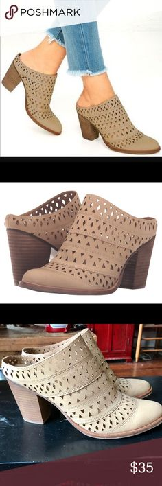 """Steve Madden Harmony Mules Steve Madden harmony cut out Mules in beige. 3"""" heel. Size 10. Great condition! Worn twice. Steve Madden Shoes Mules & Clogs"""