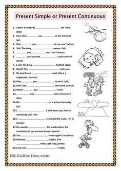Colegio - English - Present Simple / Present Continuous English Grammar Tenses, Teaching English Grammar, English Worksheets For Kids, English Verbs, English Activities, Grammar Lessons, English Language Learning, English Vocabulary, Esl Worksheets For Beginners