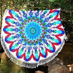 Red Multi Trippy Flower Mandala Circle Beach Throw Towel