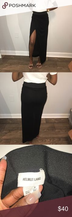 Helmut Lang Black Maxi Skirt Black Maxi skirt with elastic waistband and draped opening with slit, minor pilling, worn with care, dry cleaning recommended Helmut Lang Skirts Maxi