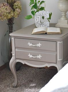 French style table makeover. Bedside table makeover using chalk paint.   Timeless Creations, LLC