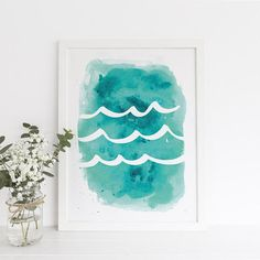 Watercolor Print Wave Print Ocean Waves Print Trending Now