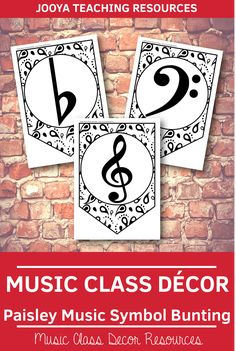 Music Class Decor - Paisley Music Symbol Bunting This paisley background paper music symbol bunting Paisley Background, Music Bulletin Boards, Music Theory Worksheets, Music Signs, Middle School Music, Music Classroom, Classroom Decor, Bunting, Music Symbols