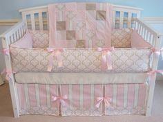 READY TO SHIP  Crib bedding set 4PC Pink / Taupe by katyasdesigns, $310.00