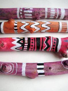 painted sticks diy project tribal boho | DIY | Pinterest | Painted ...