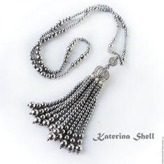 Купить Сотуар из гематита - серебряный, сотуар, сотуар с кистью, сотуар из камней, сотуар длинный