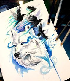 You will have the chance to win this original image If you are interested feel free to check out this faceb. White Wolf and Ravens Watercolor Wolf Tattoo, Raven And Wolf, Dragon Tattoo Designs, Rabe, Virtual Art, Desenho Tattoo, Fox Art, Wolf Tattoos, White Wolf