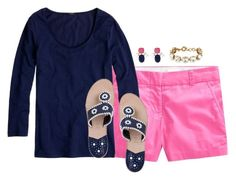 """bubblegum & navy"" by classycathleen ❤ liked on Polyvore"