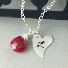 Initial Jewelry Heart Necklace Birthstone by anatoliantaledesign, $34.00