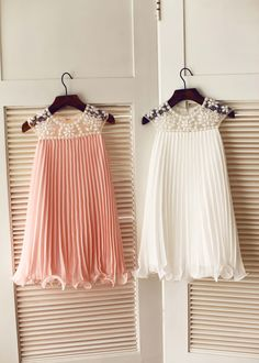The dress is made of high quality chiffon and tulle fabric.The listed color is pink/mint,please leave us color info when order,many other colors are available as well. beading color will as pictured no matter which color dress you order.The neckline is sheer tulle with beads.The rest part is chiffon