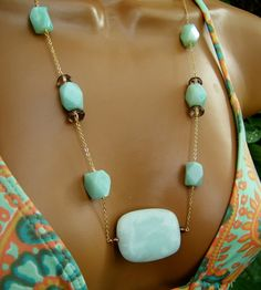 Cool Blue Amazonite Stone Necklace by CuppaCoffee on Etsy