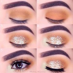 The smoky eyes are one of the most famous and cutting-edge make-up today: Smokey Eyes Makeup Look: makeup look: smokey makeup: eye makeup: glitter makeup Eye Makeup Glitter, Glitter Brows, Smokey Eye Makeup Look, Makeup For Brown Eyes, Makeup Eyeshadow, Gold Glitter, Glittery Nails, Glitter Heels, Simple Eyeshadow