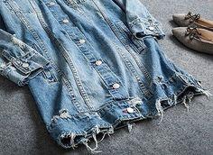 Women's Oversized Shirt Collar Cotton Long Distressed Rips Denim Jean Jacket F