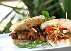 Jerk BBQ Pork Ciabatta, Smoked Gouda, Red Pepper-Jicama & Watercress Slaw w/ Red Pepper Mayo