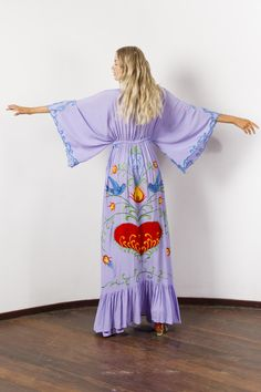 """""""Strange Magic"""" Women's embroidered duster - Lavender Fillyboo - Boho inspired maternity clothes online, maternity dresses, maternity tops and maternity jeans. Maternity Jeans, Maternity Tops, Maternity Dresses, Maternity Clothes Online, Magic Women, Goddess Dress, Beach Dresses, Kimono Top, Strange Magic"""