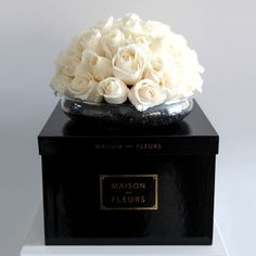 Square Box with White Roses | MDF