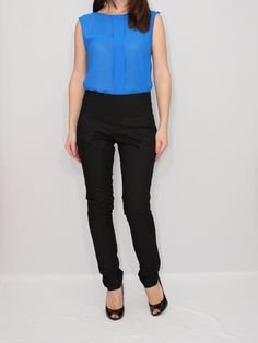 High Waist Skinny Pants in Black for Women